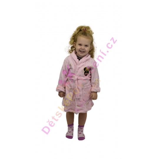 Heboučký dětský župan Disney Minnie růžový 3-8let