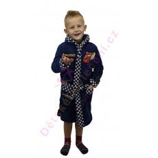 Heboučký dětský župan Auta (CARS)  tmavě modrý 3-8let