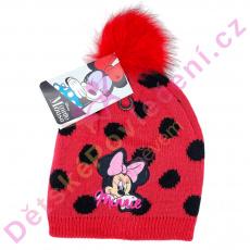 Zimní čepice Minnie Mouse s bambulí