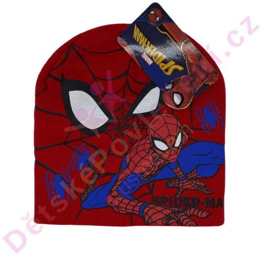 Zimní čepice Spiderman červená